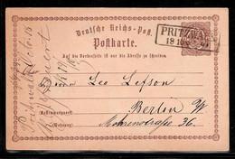 Reichspostkarte 1/2 Groschen Pritzwalk 18.10.1873 Nach Berlin - Storia Postale