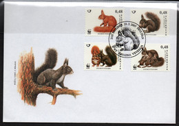 WWF - SLOVENIA - 2007 - WWF - SQUIRREL SET OF 4  ON  ILLUSTRATED FDC - FDC
