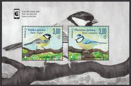 Bosnia Croatia 2019 Europa CEPT National Birds Fauna Parus Major, Parus Caeruleus, Block Souvenir Sheet MNH - Sperlingsvögel & Singvögel