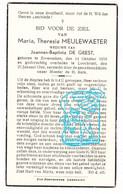 DP Maria Th. Meulewaeter ° Zeveneken 1858 † Lochristi 1944 X JB. De Geest - Devotion Images