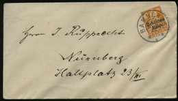 S1011 DR Infla 10 Pfg Bayern Abschied EF Briefumschlag ,gebraucht Bamberg - Nürnberg 1920 , Bedarfserhaltung. - Covers & Documents
