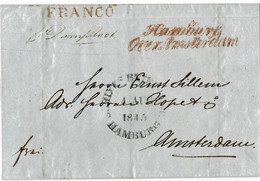 1845, Schiffs-Brief Hamburg ,nach Amsterdam   A4590 - ...-1852 Voorlopers