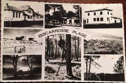 """Cpsm, Multivues Biscarosse Plage (40 Landes) ,éd Delhorbe,"""" Les Beaux Sites Landais N°521 écrite En 1957?, Cachet,Timbre - Biscarrosse"""