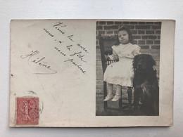 Photo Carte Enfant Mode Avec Chien 1904 Oise - Dogs