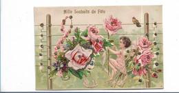 Carte Gaufrée Ange Fleur  Kf éditeur - Anges