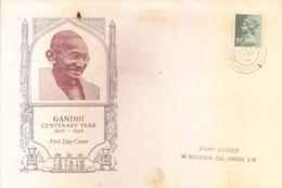 GREAT BRITAIN : COMMERCIAL USE OF GANDHI CENTENARY ENVELOPE WITH GANDHI STAMP OF DAVAAR ISLAND : YEAR 1974 - Brieven En Documenten