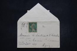 SYRIE - Type Semeuse Surchargé 1 Piastre Avec Fleuron Noir Sur Petite Enveloppe De Alep En 1920 Pour Azizié  - L 94759 - Covers & Documents