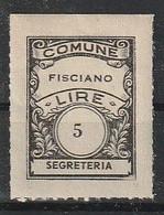 Fisciano. Marca Municipale (marca Comunale) Diritti Di Segreteria L. 5. Nuova. - Otros