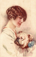 CPA A. TERZI - Art Deco - Donna, Femme, Woman - Cane, Chien, Dog - Bulldog - VG - T010 - Andere Illustrators