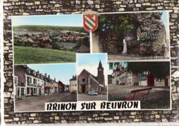 CPSM, BRINON-SUR-BEUVRON, (58), Vue Générale, La Grotte, La Place, L'église, Multivues, écrite, Timbrée - Brinon Sur Beuvron