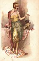 CPA A. TERZI - Art Deco - Donna, Femme, Woman - Moda, Mode, Fashion - Cane, Chien, Dog - NV - T013 - FORO! - Andere Illustrators