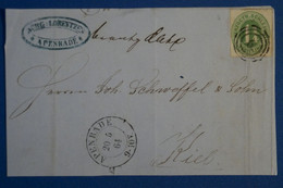 C SCHLESWIG ALLEMAGNE BELLE LETTRE DEVANT 1864 APENRADE POUR KIEL + AFFRANCHISSEMENT INTERESSANT - Schleswig-Holstein
