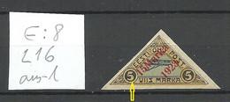 Estland Estonia 1923 Michel 42 E: 8 ERROR Abart Pos L16 On Basic Stamp * Signed Brun - Estonia