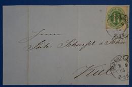 C SCHLESWIG ALLEMAGNE RARE  BELLE LETTRE DEVANT 1865 HADERSLEV POUR KIEL + AFFRANCHISSEMENT INTERESSANT - Schleswig-Holstein