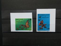SAINT PIERRE ET MIQUELON  Neuf Sans Charnière NON DENTELES N° 441 Et 442 Papillons Voir Scan - Imperforates, Proofs & Errors