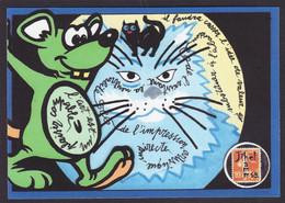 CPM Timbre Monnaie Tirage Limité Signé En 30 Ex. Numérotés Jihel  Chat Cat Soueis Mouse - Monete (rappresentazioni)