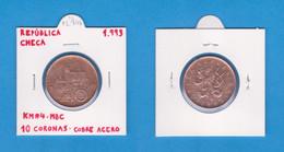 REPÚBLICA  CHECA  10  CORONAS  1.993  NIQUEL ACERO  KM#4  MBC/VF    DL-12.746 - Czech Republic