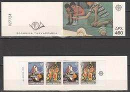 EC236 1989 GREECE EUROPA CEPT ART PAINTINGS BIRDS BUTTERFLIES 1SET BOOKLET MNH - 1989