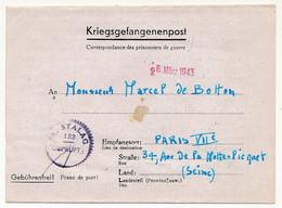 KRIEGSGEFANGENENPOST - Formule Courrier Depuis Le FRONT-STALAG 122 De Compiègne (Oise) - Prisonnier Français 1943 - Guerra Del 1939-45