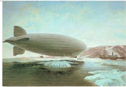 Postkarte Luftschiff LZ 127 Graf Zeppelin  / Postaustausch Im Eismeer ( Gemälde) - Aeronaves
