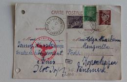 1943 CARTE POSTALE F.1,20+c.40+c.20 CAMP DEGOERS-KOPENHAGEN DANEMARK+Rouge Allemand Timbre-BB923 - Briefe U. Dokumente