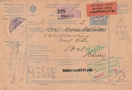 Autriche Bulletin D'expédition Valeur Déclarée Pour La Suisse 1920 - Storia Postale