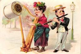 1 Calendrier 1890 J.P. Coats  Harpiste Dwarsfluit Muziekanten Musique Street Music Naaigaren - Litho Schumacher Ettlinge - Formato Piccolo : ...-1900