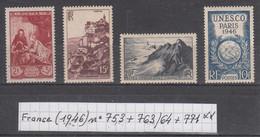 France (1946) Musée Postal N° 753 + Sites Rocamadour Et Pointe Du Raz 763/764 + Congrès UNESCO N° 771  Neufs ** - Unused Stamps