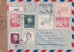 TCHECOSLOVAQUIE 1948 PLI AERIEN RECOMMANDE CENSURE DE MOHELNICDE NA MORAVE AVEC CACHET ARRIVEE WIEN - Covers & Documents