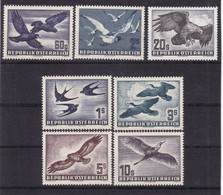 # E.13029 Austria 1950 -1953 Full Set, MNH, MLH, Michel 955 - 956, 968, 984 - 987: Birds - 1945-60 Nuovi & Linguelle
