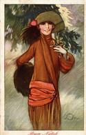 CPA A. TERZI - Art Deco - Donna, Femme, Woman - Moda, Mode, Fashion - Buon Natale, Joyeux Noël, Merry Christmas - T036 - Andere Illustrators
