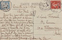SIMPLE TAXE JANVIER 1917 - Cartas Con Impuestos