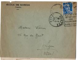 Lettre De Soreze Du 2/5/1954 Avec Un Timbre Marianne Gandon 15 F Oblitéré Avec  Daguin  SOREZE STATION DE TOURISME CURE - 1921-1960: Moderne