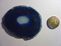 BELLE TRANCHE DE PIERRE - AGATE BLEUE DU BRESIL - BLUE AGATE SLICE - AGATHE - 8cm X 6cm - 53g - Minerali