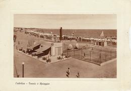 CATTOLICA-RIMINI-TENNIS E SPIAGGIA-CARTOLINA VERA  FOTO-VIAGGIATA IL 21-5-1954 - Rimini