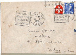 Flamme Daguin Brassac Tarn  Avec Un Timbre Marianne Muller 20 F Et Blason Lille Oblitéré Avec  Daguin - 1921-1960: Moderne