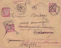 Lettre Avec N°33 (3 Présentations) - 1901 - Cartas Con Impuestos