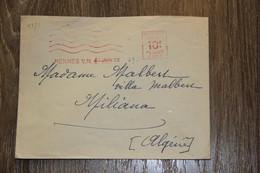 ENVELOPPE AFFRANCHISSEMENT MÉCANIQUE MEKNES JANV. 1949 MEKNES À MILIANA ALGÉRIE - Marokko (1956-...)