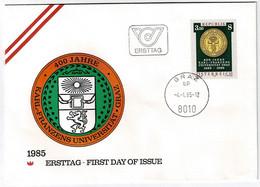 Österreich 1985,Michel# 1799, 1802, 1824 O Auf Ersttagsbrief - 1981-90 Storia Postale