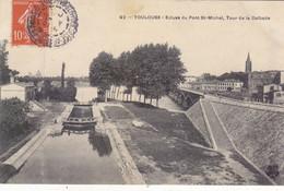 TOULOUSE: T.RARE CPA DE 1907. ECLUSE DU PONT ST.MICHEL ET TOUR DE LA DALBADE.ETAT. TRES CORRECT.A SAISIR - Toulouse