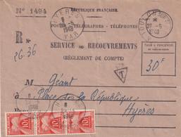 CHIFFRE TAXE (n°76) Sur Service Des Recouvrements - 28/05/48 - 1859-1955 Cartas