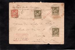 Env. CHARGE - ST SAULGE (Nièvre) à Versailles - Cachets ST SAULGE Sur YT 82 (x3) & YT 94 - Voir Cachets Au Dos Et Cire - 1877-1920: Periodo Semi Moderno