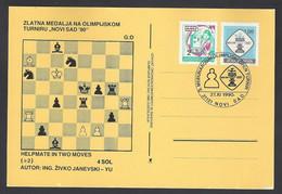 Chess, Yugoslavia Novi Sad, 27.11.1990, Cancel On Card, Open Tournament - Chess