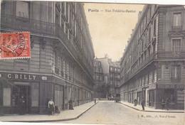 PARIS 8eme: CPA NON TROUVEE SUR DIVERS SITES. LA RUE FREDERIC-BASTIAT.PERS ET MAGASINS.1907.LEGER PLI BAS GAUCHE. - Distrito: 08
