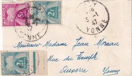 3 JANVIER 1947 - N°72 X 2 + N°75 Sur Petite Lettre Non Affranchie - 1859-1955 Cartas