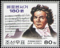 North Korea, 2007, Mi 5198, The 180th Anniversary Of The Death Of Ludwig Van Beethoven, 1v, MNH - Musica