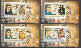 Chess, Central African Republic, 1983, MNH Blocks Mi 215-218 Part Set, - Chess