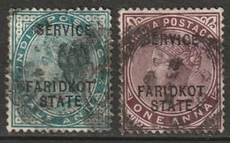 India Faridkot 1886 Sc O1-2  Official Used Thins - Faridkot