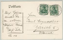 Deutsches Reich 1906, Postkarte Helgoland - Zürich (Schweiz) - Lettere