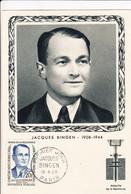 Carte Maximum FDC Jacques Bingen Héros De La Résistance Paris 1958 1er Jour - Militaria